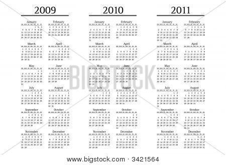 Calendar For 2009, 2010 And 2011