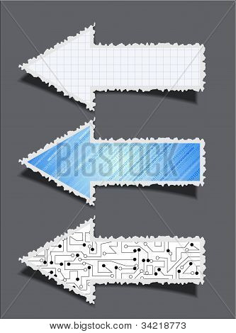 Vector Business Torn Arrow Set On Grey Background.