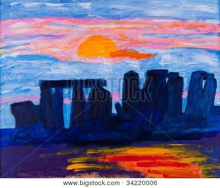Stonehenge in UK Gemälde von Kay Gale