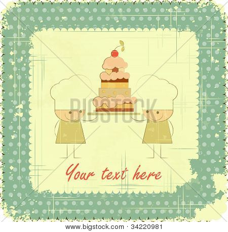 Vintage Menu Card Design With Chef, Birthday Card
