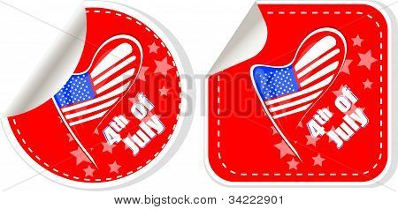 Usa Flag Sign Label Stickers Set