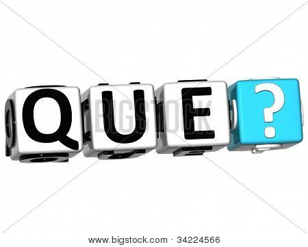 3D Spanish Question Button Click Here Block Text