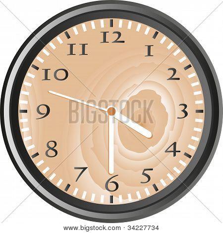 Wooden Wall Clock - Vector