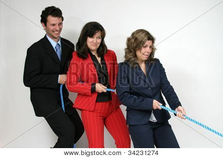 businesswoman boss with rope and team workers