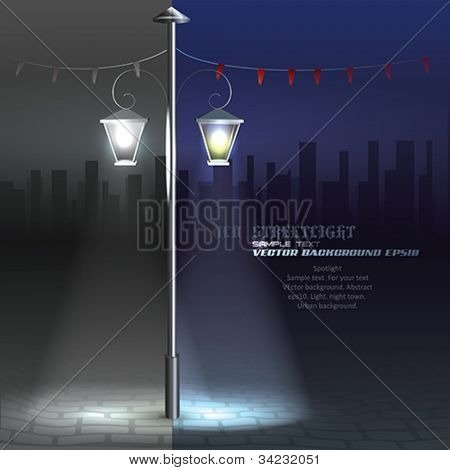 Vector Streetlight at Night. Background