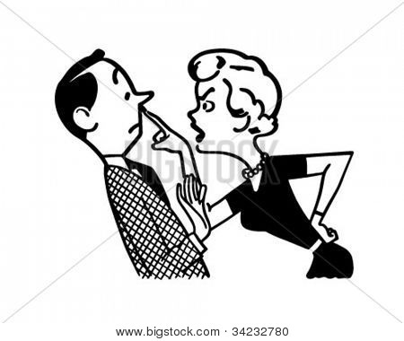 Woman Scolding Husband - Retro Clipart Illustration
