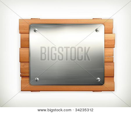 Metal sign, vector