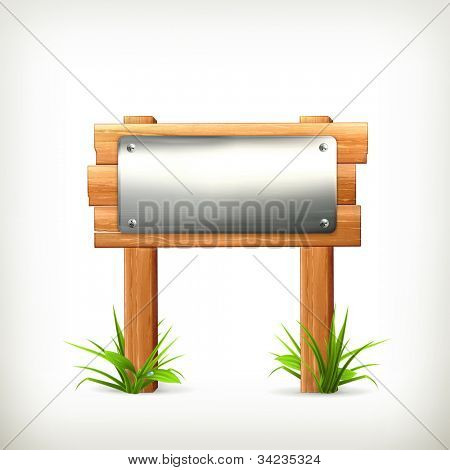 Signboard metal and wood, vector