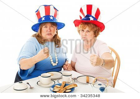 American conservative tea party voters, fighting mad.  Isolated on white.