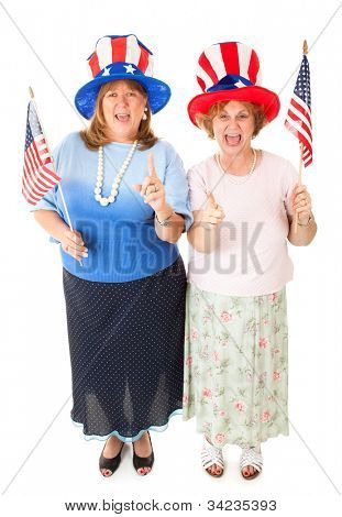 Enthusiastic American patriotic Tea Party voters.  Full body isolated.