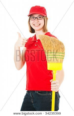 Friendly teenage girl with glasses, holding a mop and giving the thumbs up sign.  Isolated on white.