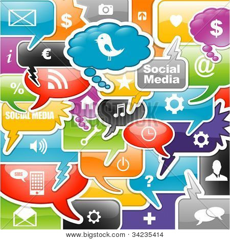 social media icons bubble for intelligent phone