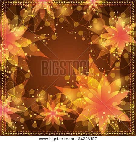 Floral Background With Decorative Golden Ornament