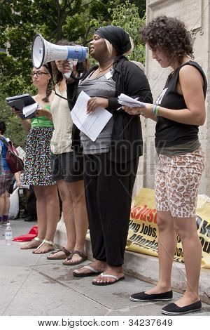 NEW YORK - JUNE 22: Speakers address an audience of supporters in Washington Square Park during the 8th Annual Trans Day of Action on June 22, 2012 in New York City.