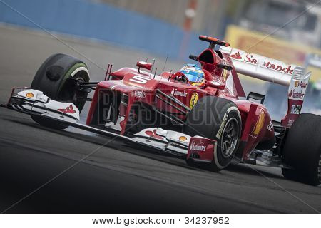 VALENCIA, SPAIN - JUNE 22: Fernando Alonso in the Formula 1 Grand Prix of Europe, Valencia Street Circuit. Spain on June 22, 2012