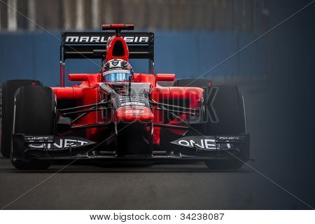VALENCIA, SPAIN - JUNE 22: Timo Glock in the Formula 1 Grand Prix of Europe, in Valencia Street Circuit, Spain on June 22, 2012