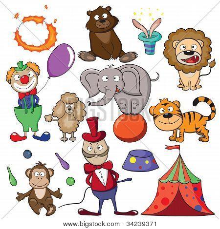 Circus Doodle Icon Set