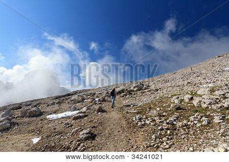 Hiker On Rocky Mountain