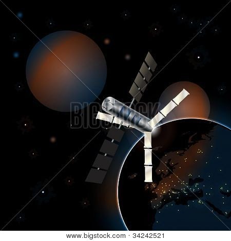 Communication satellite in earth orbit