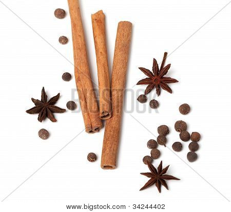 Cinnamon Sticks, Anise Stars And Black Peppercorns