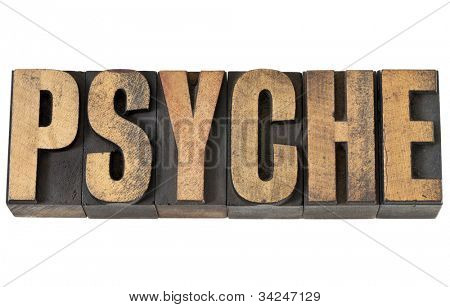 psyche - isolated text in vintage letterpress wood type