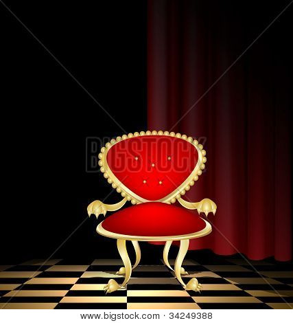 red chair in a dark room