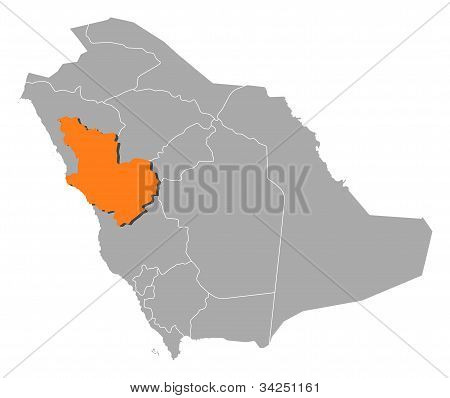 Map Of Saudi Arabia, Al Madinah Highlighted