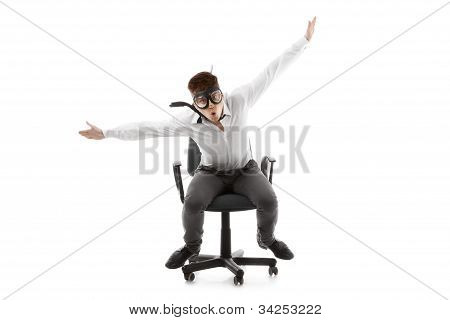 Funny Young Man On Chair