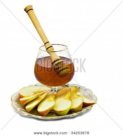 Honey and apple are symbols of Jewish New Year (Rosh hashanah)