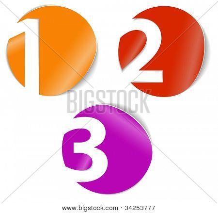 Uno dos tres - vector iconos de progreso de tres pasos u opciones