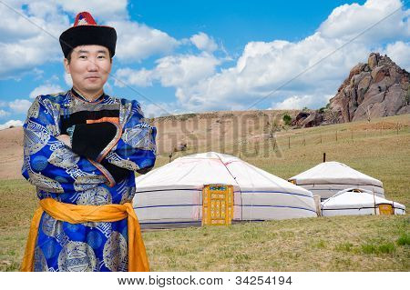 Mongolian Man And Jurts