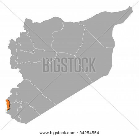 Map Of Syria, Quneitra Highlighted