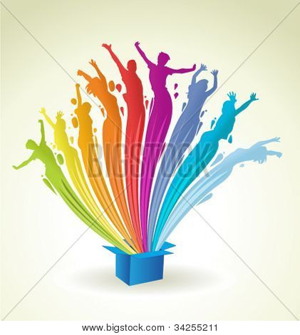 Colorful paint in shape of people splashing out of a blue box. Abstract colorful rainbow lights.
