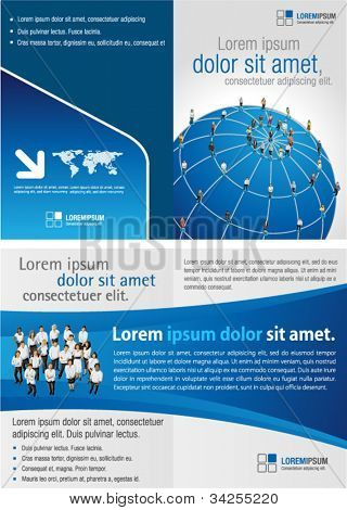 Blue template for advertising brochure with connected people over earth globe. Social network.