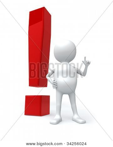 3D white man with big red exclamation sign isolated on white background.