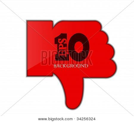 Vector Red Thumb Down Isolated On White. Eps 10
