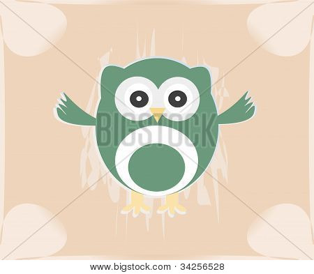 Vector Cute Owl Card / Baby Girl Arrival Announcement Card