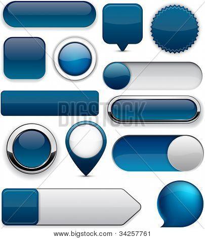 Blank Dark-blue web buttons for website or app. Vector eps10.