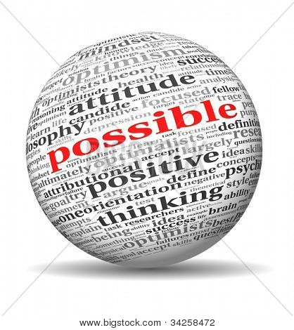 Possible concept in word tag cloud of 3d sphere shape
