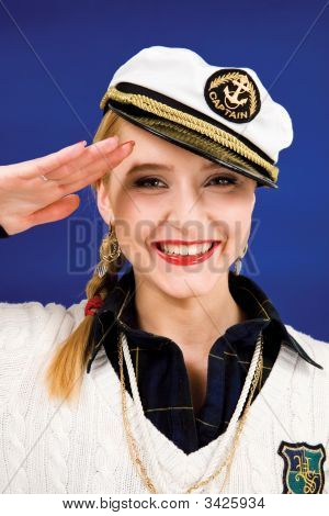 Saluting Blond Young Woman