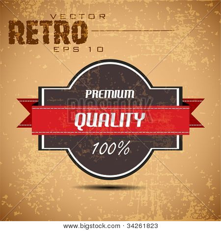 Old brown color retro vintage grunge label background with ribbon and text Premium Quality. EPS 10. Can be use as banner, label, tag or sticker.