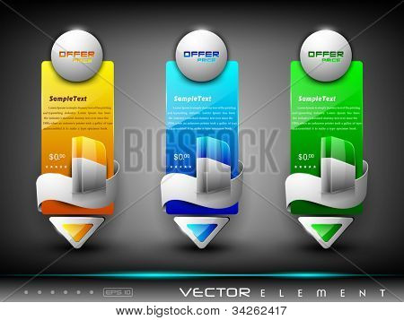 Website banner or header with colorful abstract design, product display and ribbon. EPS 10.
