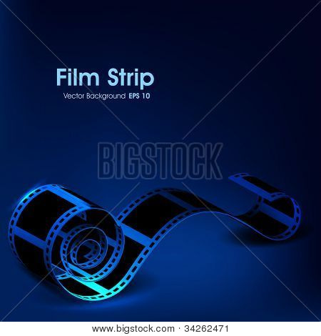 Film stripe or film reel on shiny blue movie background. EPS 10