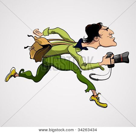 Photographer Person with Camera. Travel Journalist Reporter