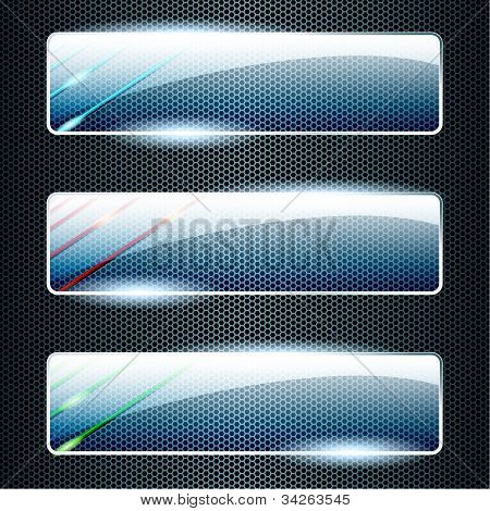 Transparent glass banners with color elements