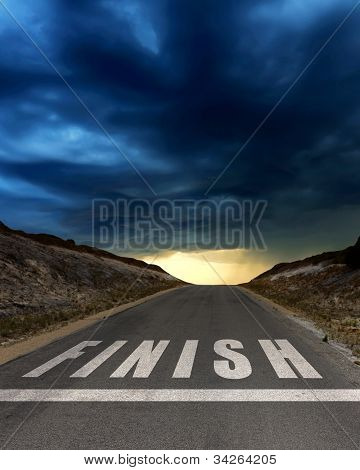 Road leading to finish