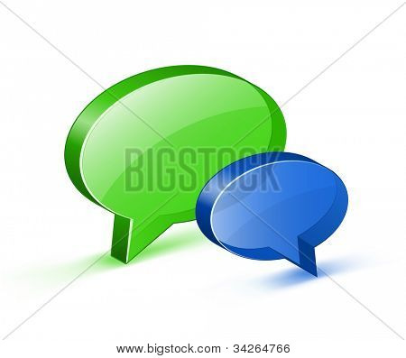 Chat or on-line support concept. Glossy bubble Icons. Vector illustrations