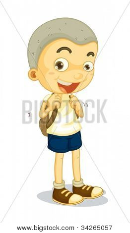 illustration of a boy carrying schoolbag on white