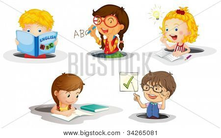 illustration of a kids studying on a white background
