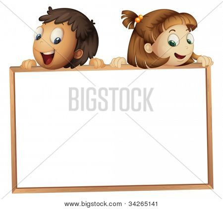 illustration of a kids showing board on a white background